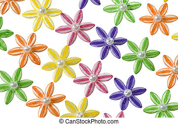 Diagonal pattern of applique flowers - Background of yellow,...