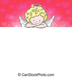 Cute Valentine's day banner with sketch Cupid