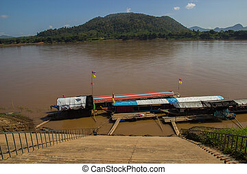 the boat parking near riverside in Mekong river