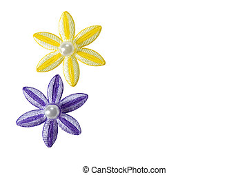 Flower Applique Duo - Purple and yellow applique flowers...