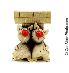Statuette of funny cats - Funny cats, funny cat figurine...