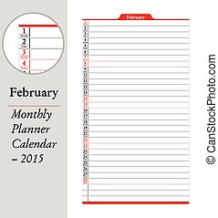 2 月, montly, 立案者, カレンダー, -, 2015,