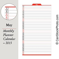 May, montly planner Calendar - 2015 - May sheet in an...