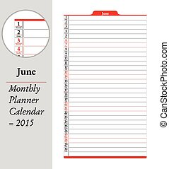 June, montly planner Calendar - 2015 - June sheet in an...