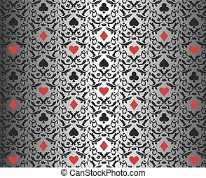 background_poker_silver_leaf_black_red - Exclusive black...