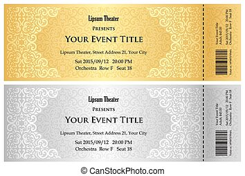 Luxury golden and silver theater ticket with vintage pattern...