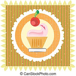Sweet on striped background, with cherry and cream, grunge style