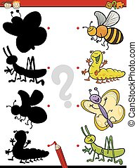 education shadows game cartoon - Cartoon Illustration of...