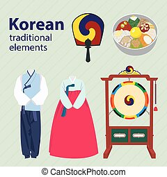 Korean traditional elements vector set. Drum clothes fan
