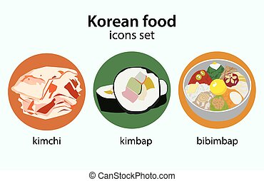 Korean food flat design icons set Bibimbap kimchi kimbap