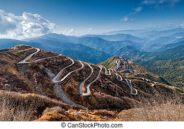 Curvy roads , Silk trading route between China and India -...