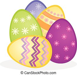 Colorful easter eggs vector icon composition. Illustration...
