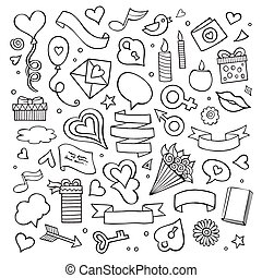Set of love doodle icons vector illustration isolated