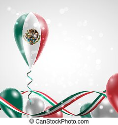 Flag of Mexico on balloon. Celebration and gifts. Ribbon in...