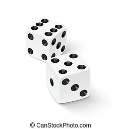 Realistic white dice icon isolated on white background...