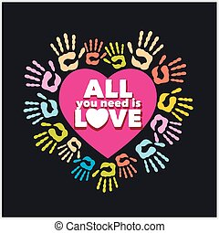 Colored handprints and pink heart - vector illustration. -...