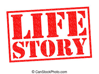 LIFE STORY red Rubber Stamp over a white background