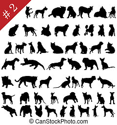 pets silhouettes 2 - Set 2 of different vector pets...