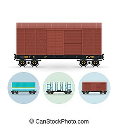 Set of icons of freight cars