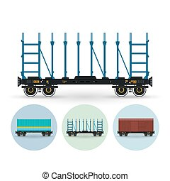 Set of icons of different types of freight cars, vector illustration