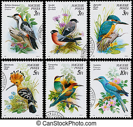 Stamps printed in Hungary show birds - HUNGARY - CIRCA 1990:...