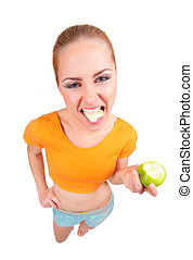 Young funny woman with green apple