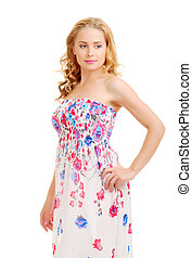 Young woman in sundress isolated