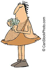 Caveman with a handful of money - This illustration depicts...