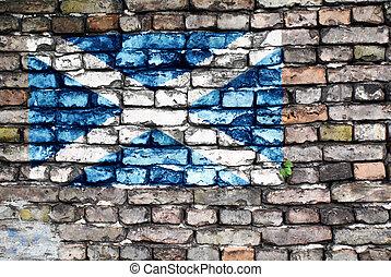 pared, Escocia, bandera, viejo, ladrillo