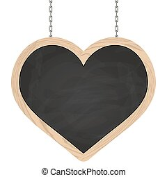 Heart signboard hanging on chains