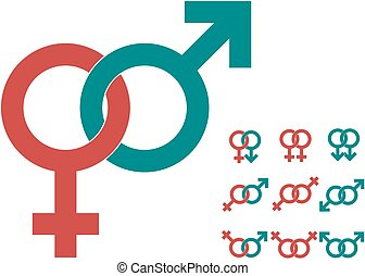 Male and female symbols, gender signs vector in two colors