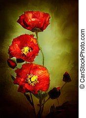 Poppies - Digital painting of beautiful red poppies.