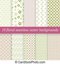 collection seamless floral backgrounds - vector collection...
