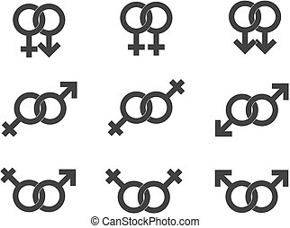 Male and female symbols, gender signs vector in grey