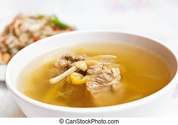 Lily flower and sparerib soup. - Chinese style soup with day...
