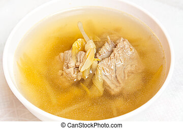 Lily flower and sparerib soup - Chinese style soup with day...