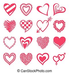 Set of heart shaped icons.