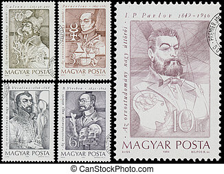 Stamps printed in Hungary show Medical Pioneers - HUNGARY -...
