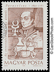 Stamp printed in Hungary shows Paracelsus - HUNGARY - CIRCA...