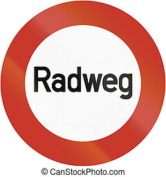 Radweg 1937 - Old design 1937 of a German bicycle road sign...