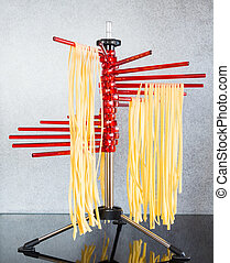 Drying Self-made Italian Pasta - Self-made italian...
