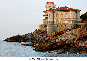 Sunset over a castle - The castle of Boccale in Livorno,...