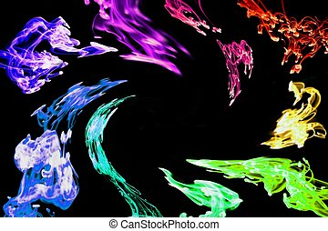 Swirling Rainbow ink frame - Multiple drops of colored ink...