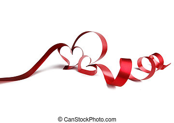 Heart shaped ribbon - Heart shaped red ribbon isolated on...