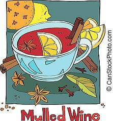 mulled wine - cup of mulled wine with spices and lemon...