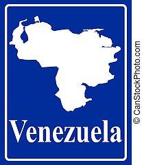 mapa, silueta,  venezuela