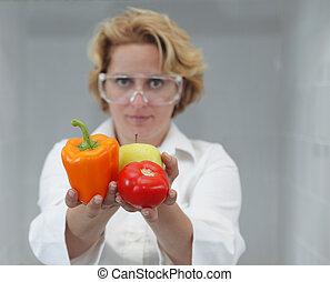 femme, scientifique, offrande, naturel, nourriture