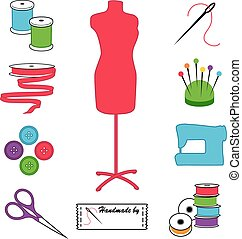 Sewing and Tailoring Icons, Pastels - Fashion model with...