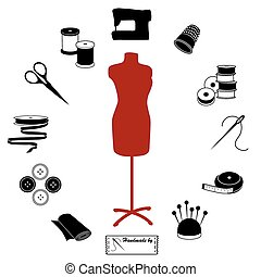 Sewing and Tailoring Icons - Fashion model with tools and...