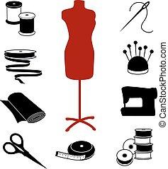 Costura, y, sastrería, iconos,